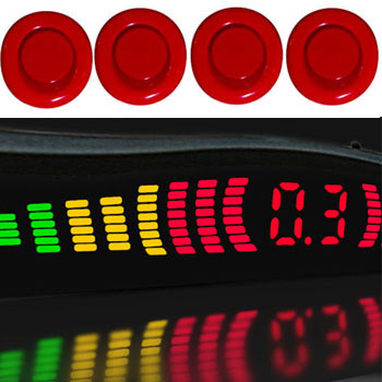 einparkhilfe 4 sensoren rot 18mm m81 r ckfahrwarner parktronik pts pdc. Black Bedroom Furniture Sets. Home Design Ideas